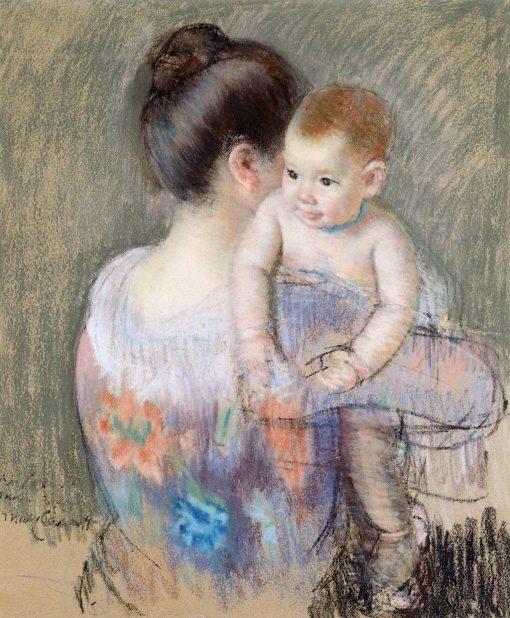 Baby Charles Looking over His Mother's Shoulder (No. 2) | Mary Cassatt | Oil Painting