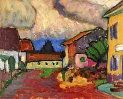 Woodcutter (also known as Pfarrgasse with Woodcutter) | Gabriele Münter | Oil Painting