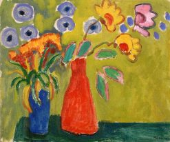 Red Vase (also known as Vase rouge) | Gabriele Münter | Oil Painting