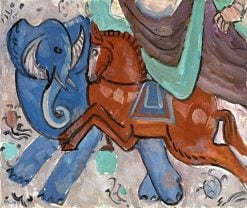 Turkestanish (also known as Elephant and Horse) | Gabriele Münter | Oil Painting