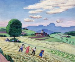 Harvest in Upper Bavaria (also known as Field Work near Dettendorf) | Gabriele Münter | Oil Painting