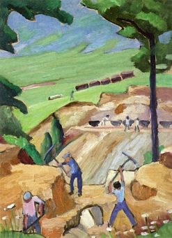 Study with Three Laborers (also known as Road Workers II) | Gabriele Münter | Oil Painting