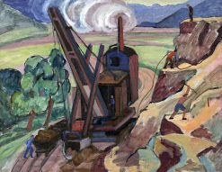Smoking Excavator in the Landscape (also known as Construction Site on Olympiastraße) | Gabriele Münter | Oil Painting