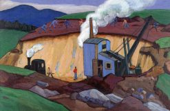 The Blue Excavator (also known as Construction Site on Olympiastraße to Garmisch) | Gabriele Münter | Oil Painting