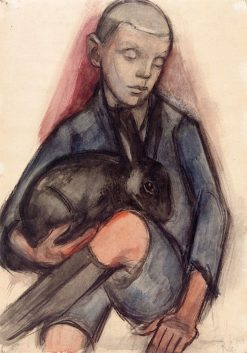 Boy with Rabbit | Anita Rée | Oil Painting