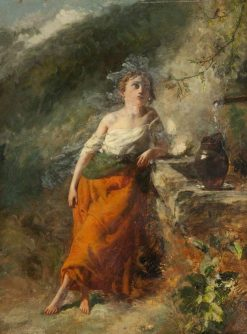 Autumn: Welsh Girl at a Mountain Stream | Paul Falconer Poole | Oil Painting