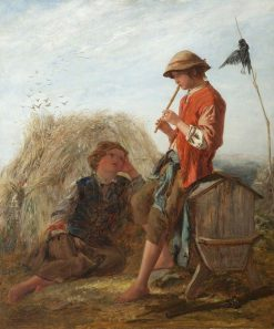 Shepherd Boys and the Scarecrow | Paul Falconer Poole | Oil Painting