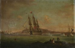 HMS 'Britannia' Sailing from the Hamoaze to Plymouth Sound | Thomas Lyde Hornbrook | Oil Painting