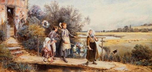 May Day Garlands | Myles Birket Foster | Oil Painting