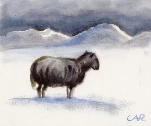 A Stray Sheep among Snowy Dunes | Anita Rée | Oil Painting