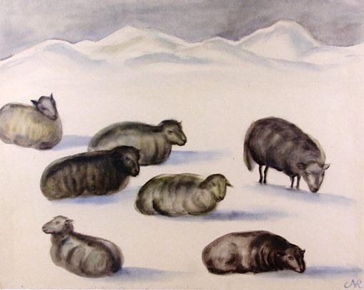 Sheep in the Snow | Anita Rée | Oil Painting