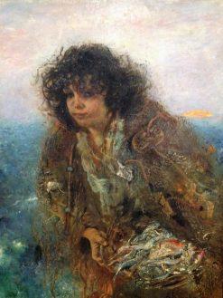 Girl with Fish   Anton Romako   Oil Painting