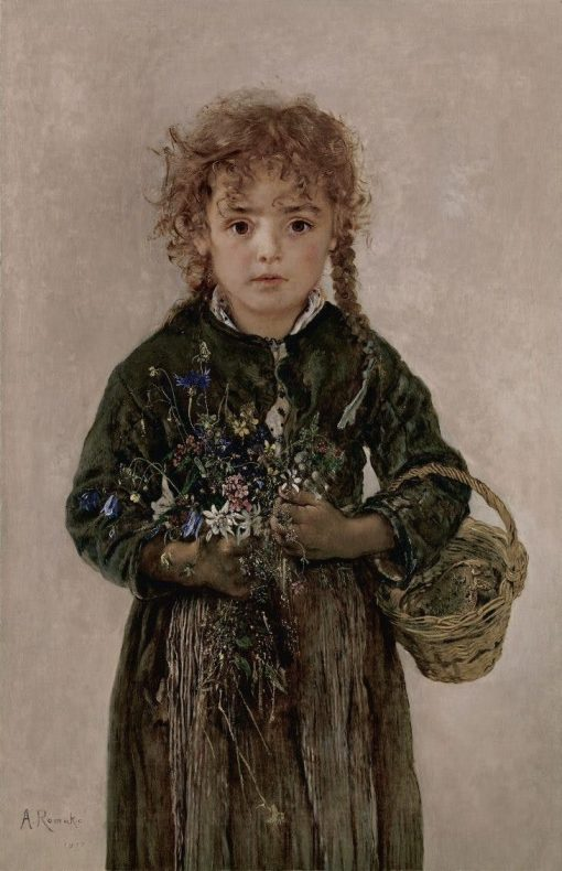 Peasant Girl with Bread Basket and Alpine Flowers | Anton Romako | Oil Painting