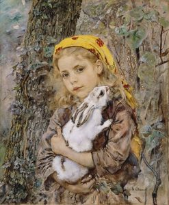 Girl with Rabbit | Anton Romako | Oil Painting
