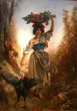 Girl with a Turkey | Anton Romako | Oil Painting