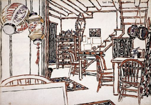 Lanterns and Snowshoes (also known as Interior of Tea-House) | David Milne | Oil Painting