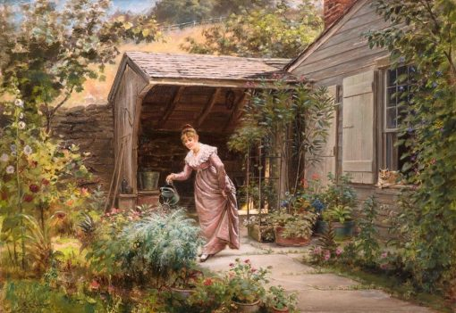 In the Garden   Edward Lamson Henry   Oil Painting