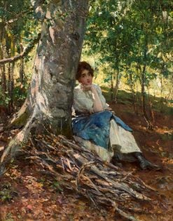 Woman Resting beneath a Tree | Henry Mosler | Oil Painting