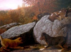 Rabbit Hunting   Thomas Hewes Hinckley   Oil Painting
