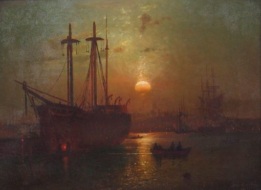 Whale Ship of New Bedford Harbor | Lemuel D. Eldred | Oil Painting