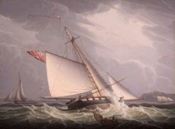 Castle Edward' Capturing the American Schooner 'John & William' | Robert Salmon | Oil Painting
