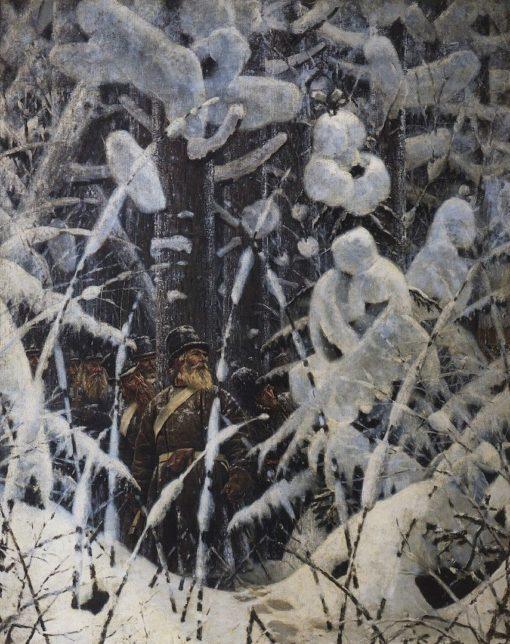 Soldiers in the Winter Forest | Vasily Vasilevich Vereshchagin | Oil Painting