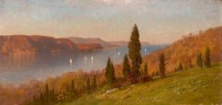 View on the Hudson   Samuel Colman   Oil Painting