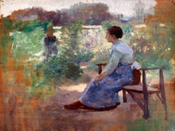 Woman Seated in a Garden | Eliphalet Frazer Andrews | Oil Painting