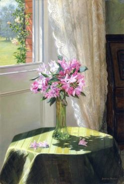 Rhododendrons by a window | Jessica Hayllar | Oil Painting