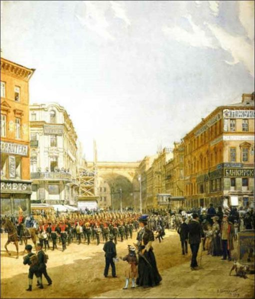 Street in St. Petersburg   Alexander Beggrov   Oil Painting