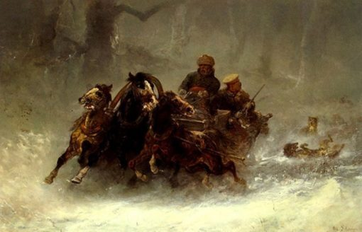Wolves Attacking the Sleigh | Adolf Christian Schreyer | Oil Painting