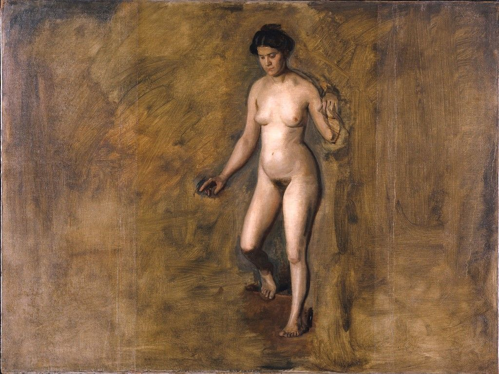 Masked nude woman, seated painting by thomas cowperthwait eakins reproduction
