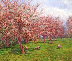 Blossoms in England: Sheep in an Orchard | Wynford Dewhurst | Oil Painting