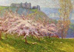 Sheep Grazing beneath Flowering Apple Trees | Wynford Dewhurst | Oil Painting