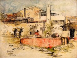 The Pink Fountain at Jalapa   Helen Hyde   Oil Painting
