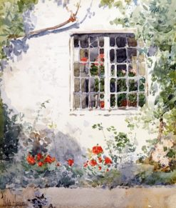Flowers Agains a White Wall | Childe Hassam | Oil Painting