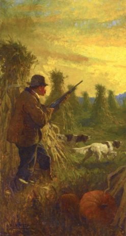 Hunter with Two Dogs in Cornfield | Newell Convers (N.C. Wyeth | Oil Painting