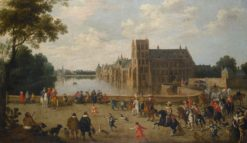 The Princes of Orange leaving the Buitenhof and passing the western side of Hofvijver in The Hague | Joost Cornelisz. Droochsloot | Oil Painting