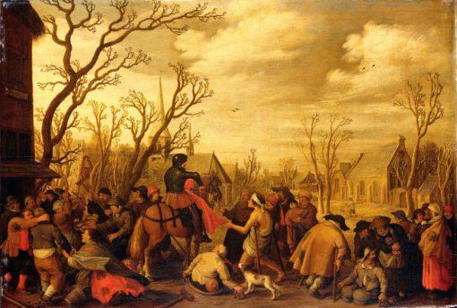 Saint Martin Cutting Off Part of His Cloak for a Beggar | Joost Cornelisz. Droochsloot | Oil Painting