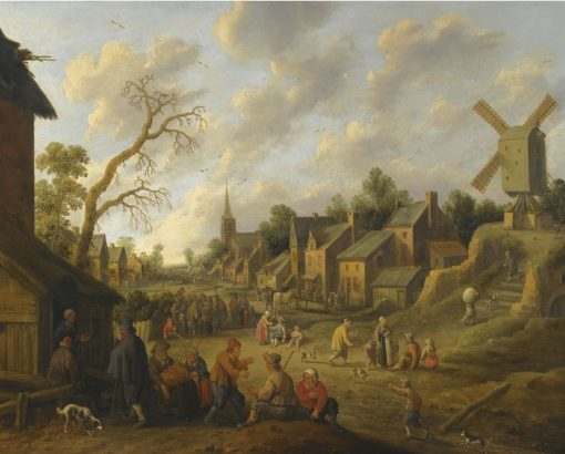A wide street through a village filled with numerous figures and overlooked by a windmill   Joost Cornelisz. Droochsloot   Oil Painting