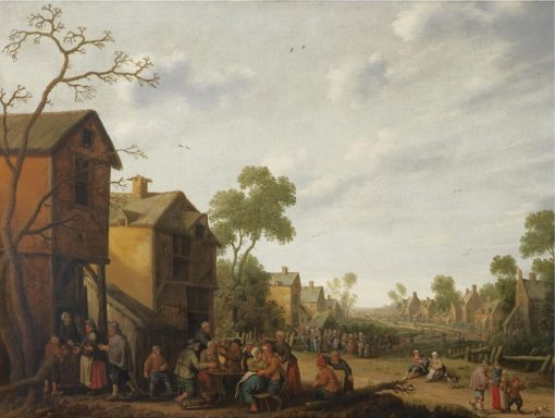 A Village Scene with Peasants Eating and Drinking outside an Inn