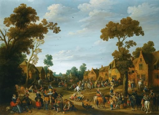 A busy village scene with soldiers and pesants | Joost Cornelisz. Droochsloot | Oil Painting