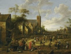 A busy village stret with numerous figures
