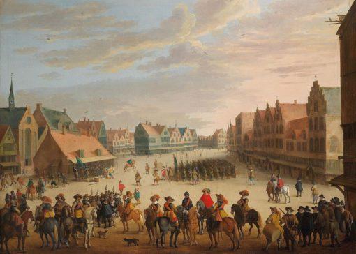Prince Maurice of Orange dismissing the mercenaries in Neude Square in Utrecht on 31 July 1618   Joost Cornelisz. Droochsloot   Oil Painting