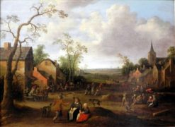 Peasants in a Village Street | Joost Cornelisz. Droochsloot | Oil Painting