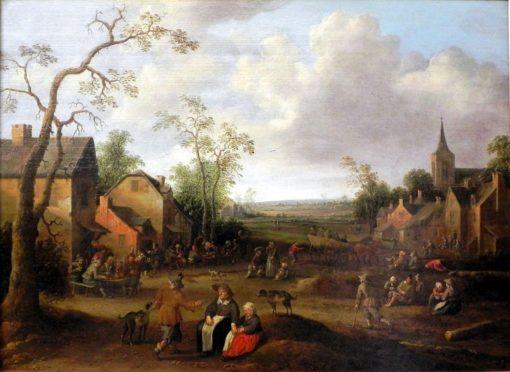 Peasants in a Village Street   Joost Cornelisz. Droochsloot   Oil Painting