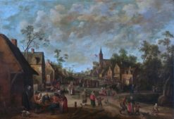 Peasants feasting in a village | Joost Cornelisz. Droochsloot | Oil Painting