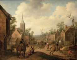 Soldiers plundering a village | Joost Cornelisz. Droochsloot | Oil Painting