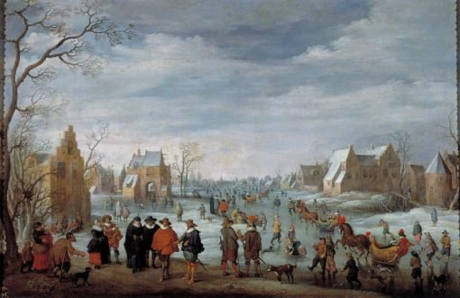 Winter Landscape with Skaters | Joost Cornelisz. Droochsloot | Oil Painting