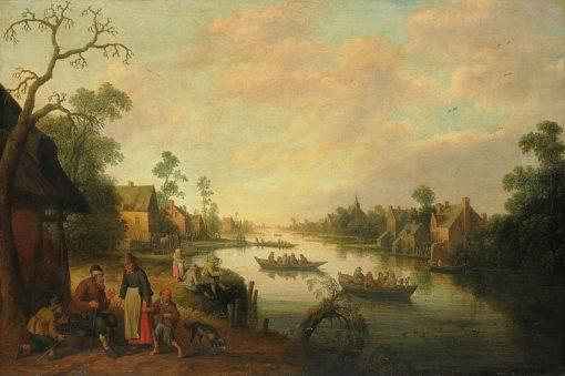 River Scene   Joost Cornelisz. Droochsloot   Oil Painting